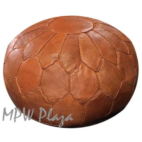 "Retro Shell, Moroccan Pouf Ottoman, Natural Tan, Stuffed 14""x 20"""