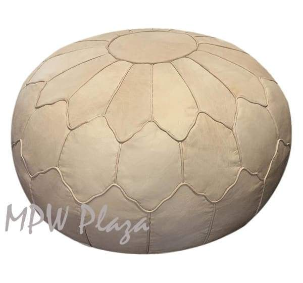 "Retro Shell, Pouf Ottoman, Moroccan Pouf, Natural Tan, Stuffed 14""x 20"" - MPW Plaza (R)"