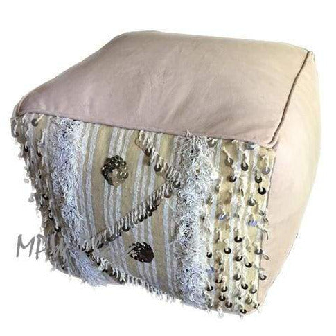 Stuffed Square Handira Leather Moroccan Pouf - MPW Plaza