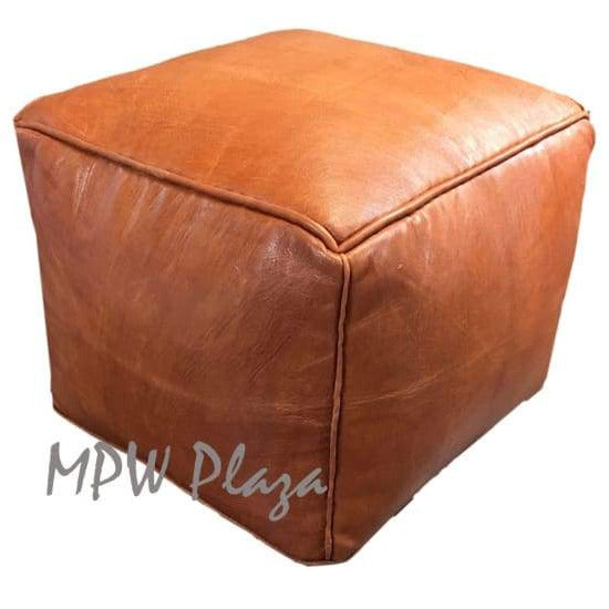 "Two Tone Light Tan/Tan, Pouf Ottoman, Moroccan Pouf, Stuffed 14""x 20"""