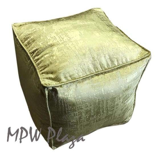 "Velvet Square Pouf - Green, Stuffed 15""H x 18""W - MPW Plaza (R)"