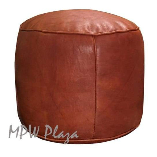 Two Tone, Rustic Tan Pouf, 14x20 (dark embroidery)