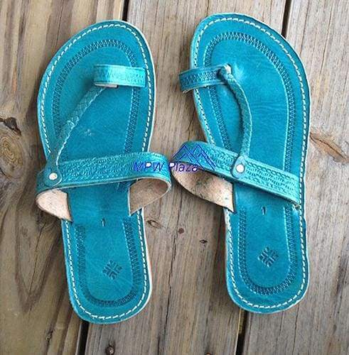 Sandal Moroccan Leather, Turquoise - MPW Plaza (R)