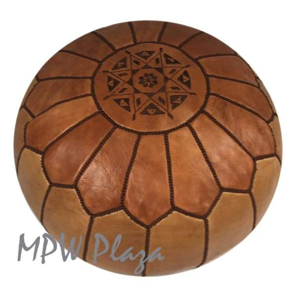 "Two Tone Tan/Light Tan, Pouf Ottoman, Moroccan Pouf, Stuffed 14""x 20"" - MPW Plaza (R)"