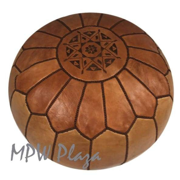 Two Tone Tan/Light Tan, Moroccan Pouf Ottoman 14x20 - MPW Plaza