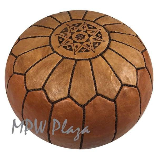 "Two Tone Light Tan/Tan, Pouf Ottoman, Moroccan Pouf, Stuffed 14""x 20"" - MPW Plaza (R)"