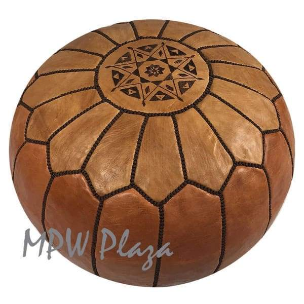Two Tone Light Tan/Tan, Moroccan Pouf Ottoman, 14x20 - MPW Plaza