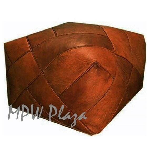 ZigZag, Light Tan, Square Pouf, Moroccan Pouf
