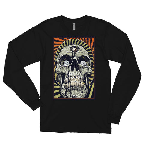 DEATH AND TAXES (warm)- American Apparel 2007 Unisex Fine Jersey Long Sleeve T-Shirt