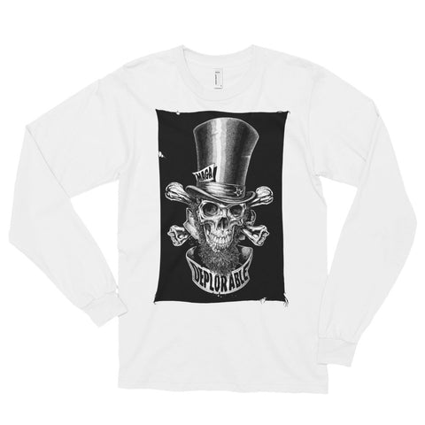 DEPLORABLE ABE LINCOLN JOLLY ROGER- American Apparel 2007 Unisex Fine Jersey Long Sleeve T-Shirt