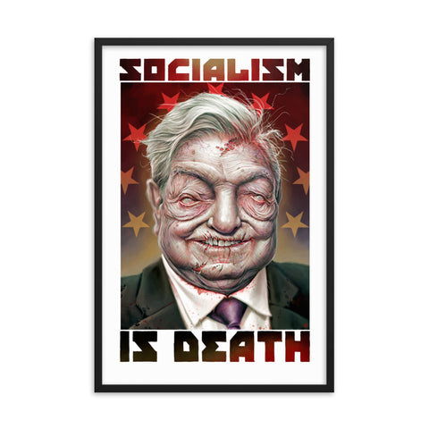 ZOMBIE GEORGE SOROS...SOCIALIST- Framed photo paper poster
