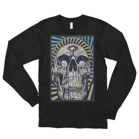 DEATH AND TAXES- American Apparel 2007 Unisex Fine Jersey Long Sleeve T-Shirt