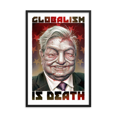 ZOMBIE GEORGE SOROS...GLOBALIST- Framed photo paper poster