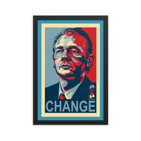 WIKILEAKS CHANGE- Framed photo paper poster