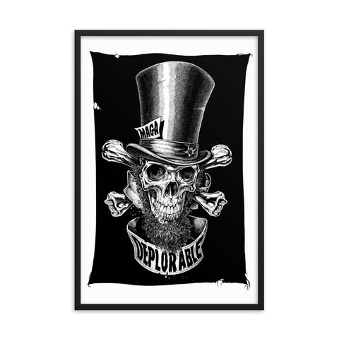 DEPLORABLE ABE LINCOLN JOLLY ROGER- Framed photo paper poster