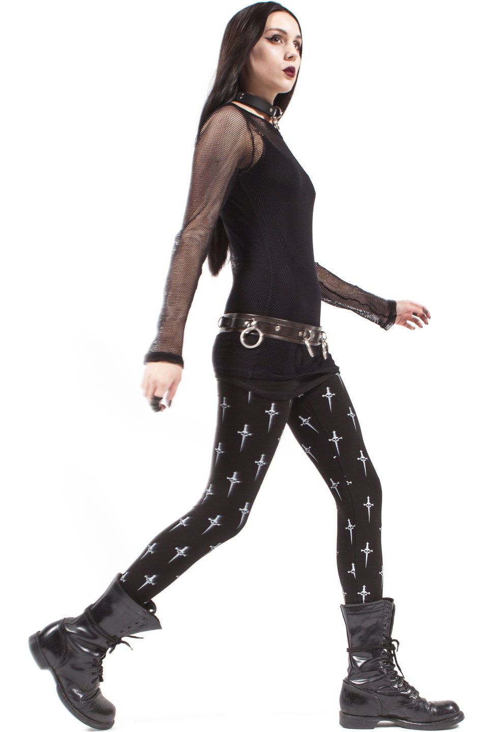 High Waisted Dagger Print Leggings - Leggings - Lip Service