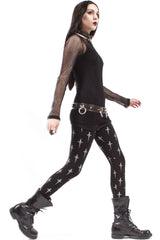 High Waisted Dagger Print Leggings-Leggings-Lip Service