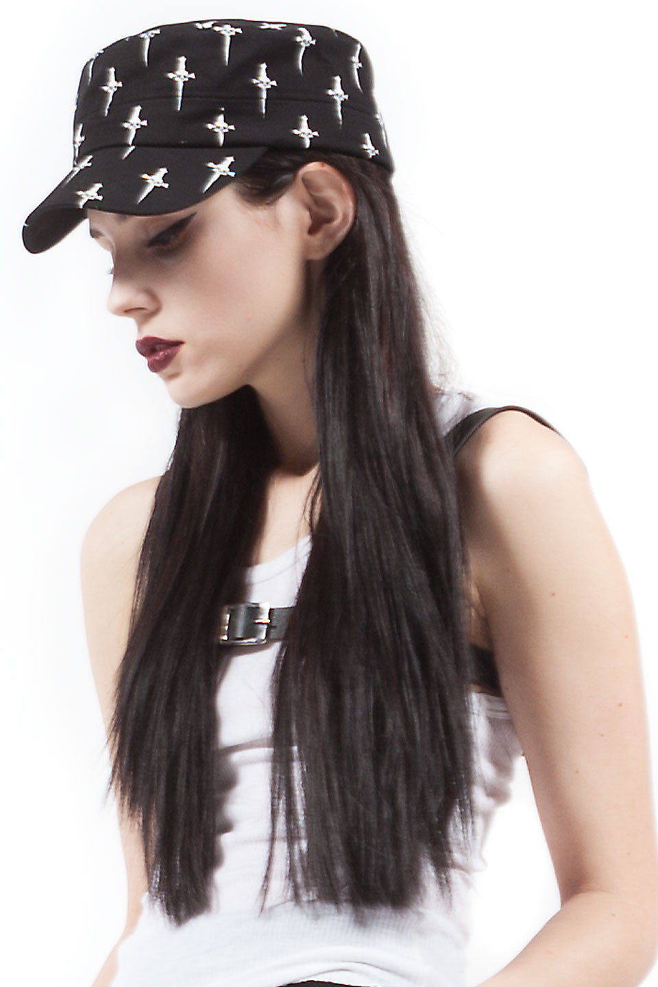 Dagger Print Military Hat-Accessories-Lip Service