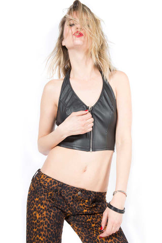 Vintage Vegi Leather Zip Halter Top-Tops-Lip Service