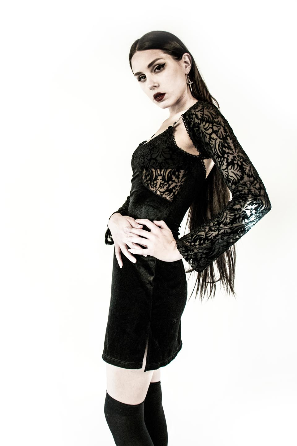 Vintage Velvet Burnout Dress-Dresses-Lip Service