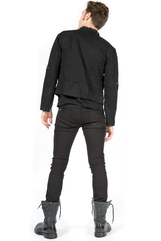 Black Snap Men's Biker Jacket-Jacket-Lip Service