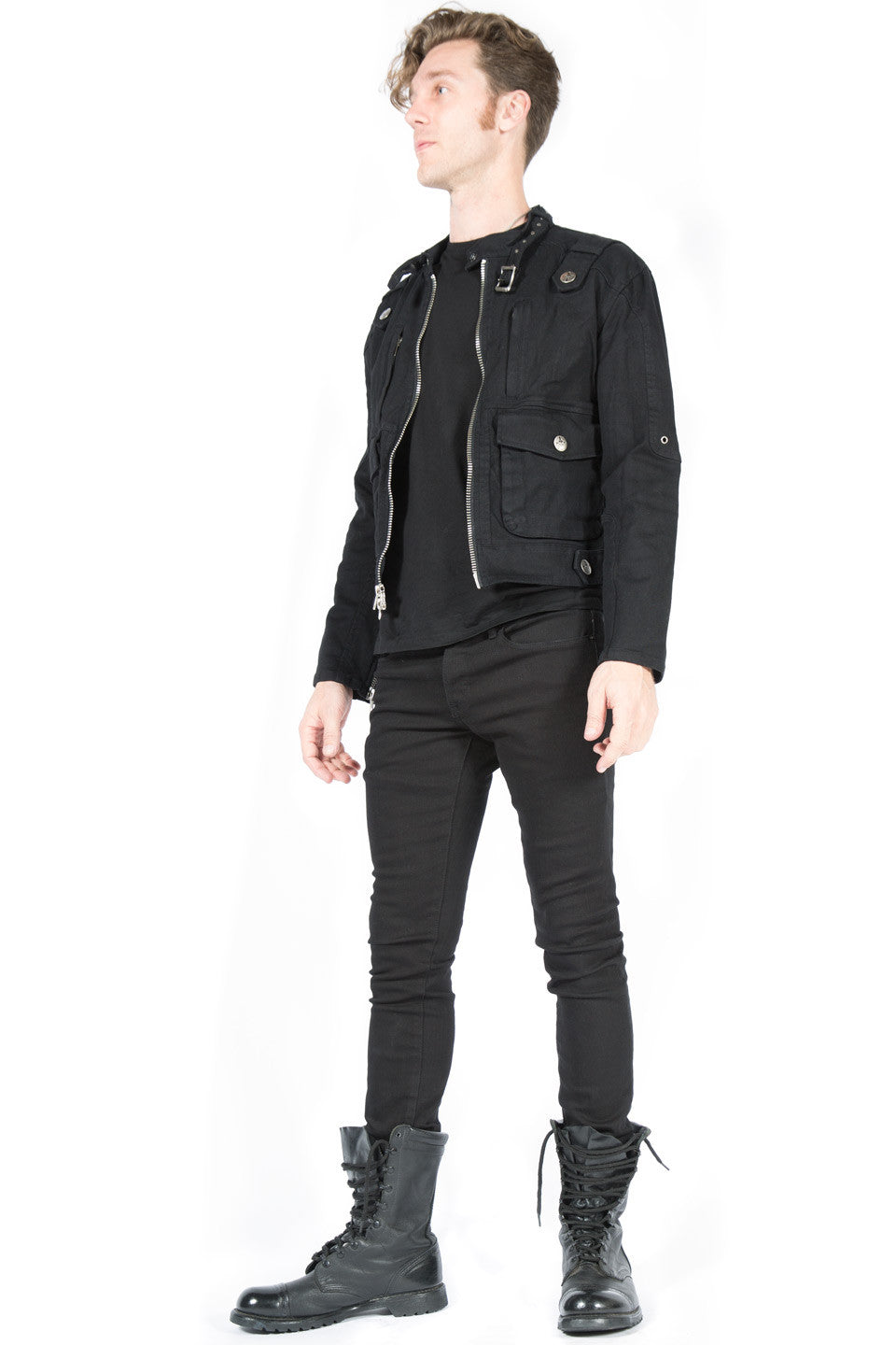 Black Snap Men's Biker Jacket - Jacket - Lip Service