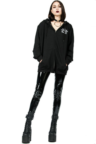 Embroidered Dagger Zip Hoodie-Tops-Lip Service