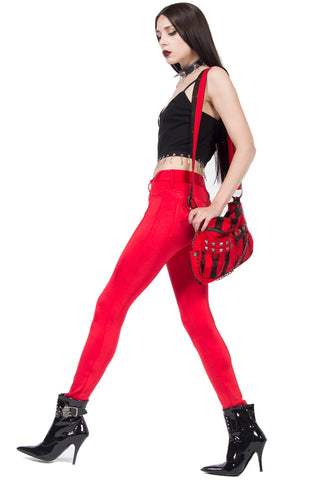 Straight From The Heart Red Glam Spandex Jean-Bottoms-Lip Service