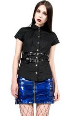 Vintage Cyber Goth Belt Shirt-Tops-Lip Service