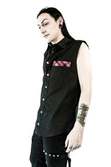 Sleeveless Shirt with Plaid Pocket-Tops-Lip Service
