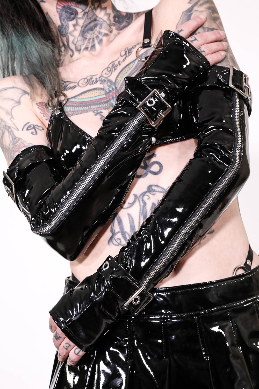 Elbow Length Fingerless PVC Gloves-Accessories-Lip Service