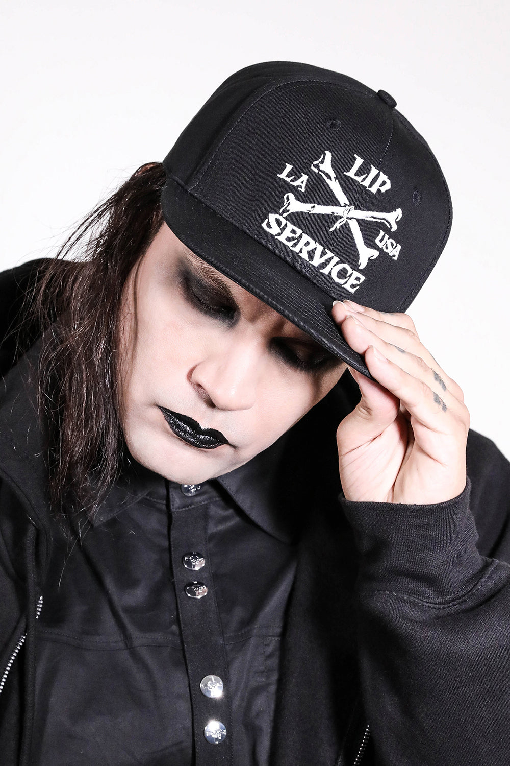 Cross Bones Snapback Baseball Hat B/W-Accessories-Lip Service