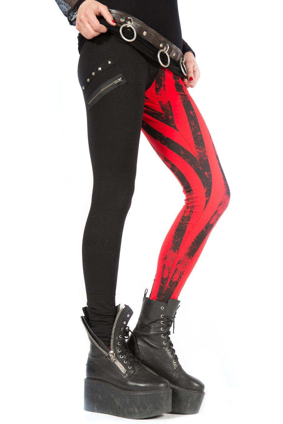 Vintage Batz & Bones Striped Leggings-Leggings-Lip Service