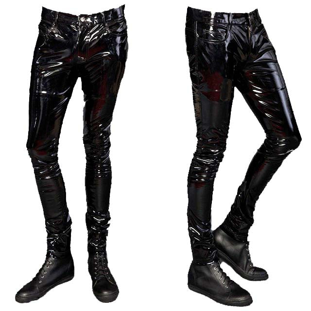 Skinny PVC Vinyl Stretch Jeans-Bottoms-Lip Service
