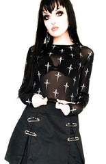 Hot Mesh Sheer Logo Print Long Sleeve Top-Tops-Lip Service