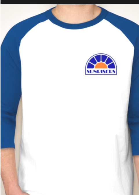 "3/4 Sleeve Baseball Tee ""Sunrisers"" Logo"