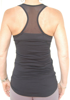 Sporting Clothing Gym Fitness Yoga Top Ladies Womens (Black)