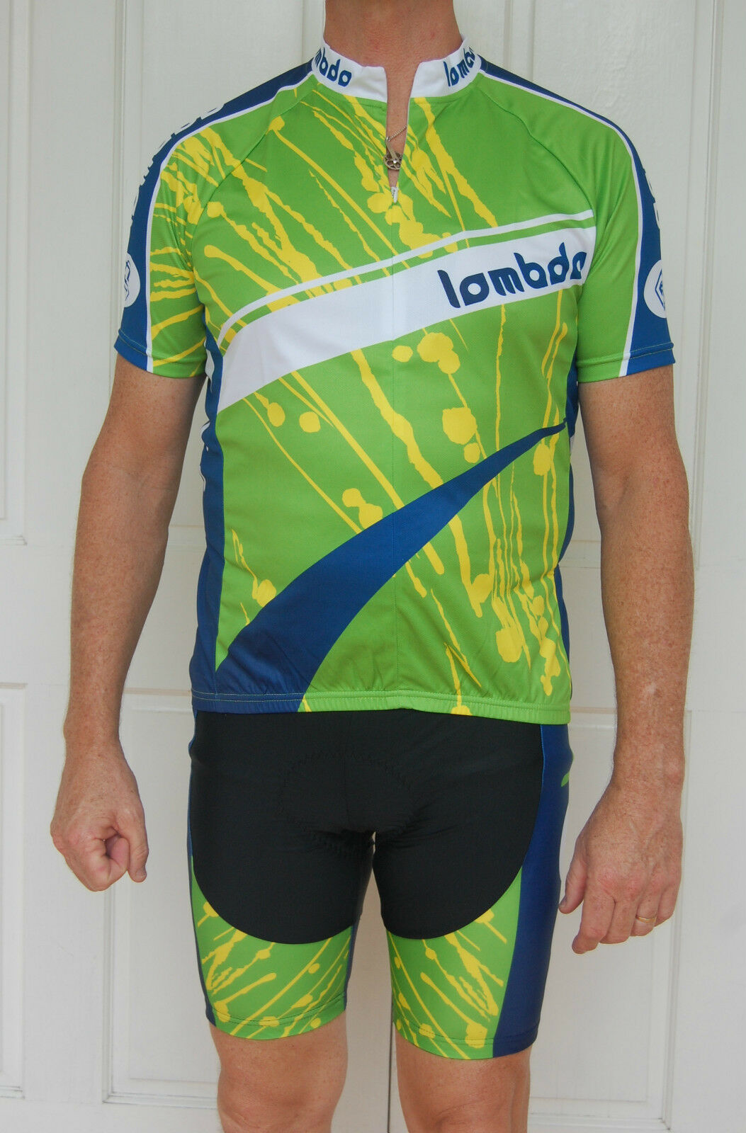 Unisex cycling jersey & knicks pants set (green, blue, yellow & white)