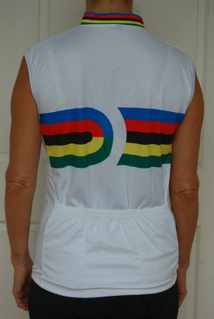 Cycling Sport Clothing Jersey Unisex (White & Coloured stripes)
