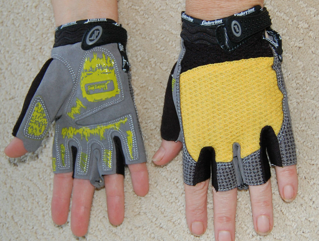 Sporting Clothing Accessories Cycling Half Finger Gloves Unisex (Yellow & Grey)