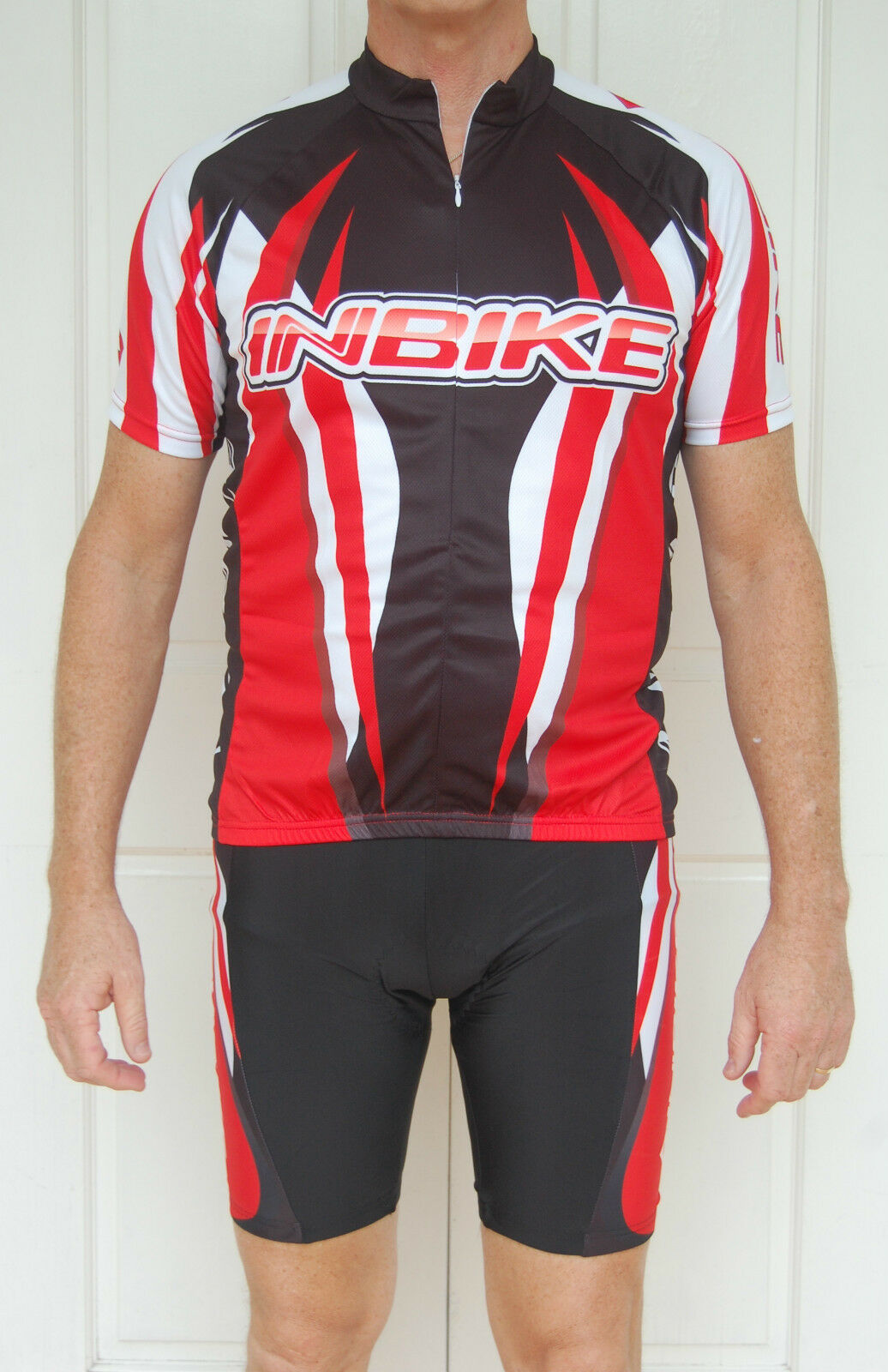 Unisex cycling jersey & knicks pants set (red, black & white)
