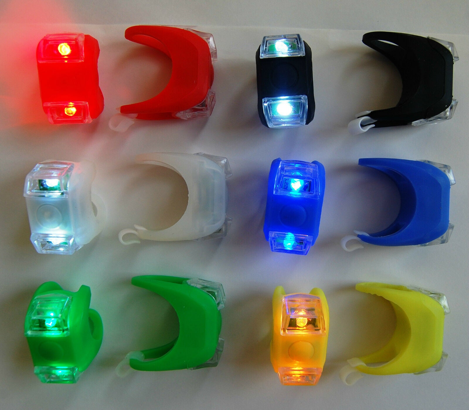 Flashing silicone cycling lights (pair, various colours)