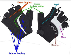 BODIZZZ Black & white quality cycling gloves