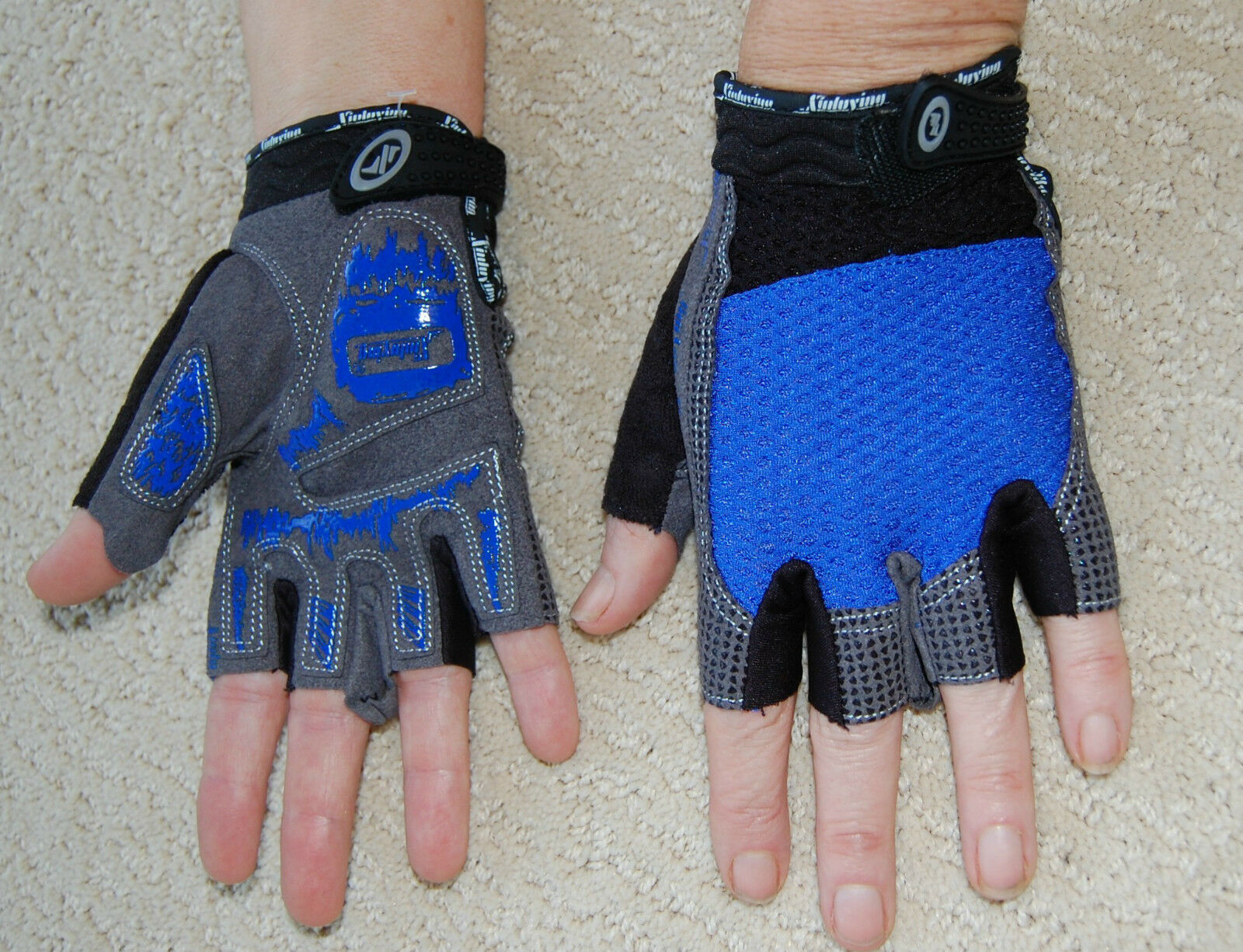 Sporting Clothing Accessories Cycling Half Finger Gloves Unisex (Blue & Grey)