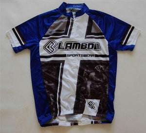 Unisex cycling jersey (blue, grey, black & white)
