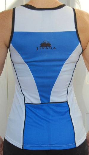 Womens sleevless jersey top (white, blue with black detail)