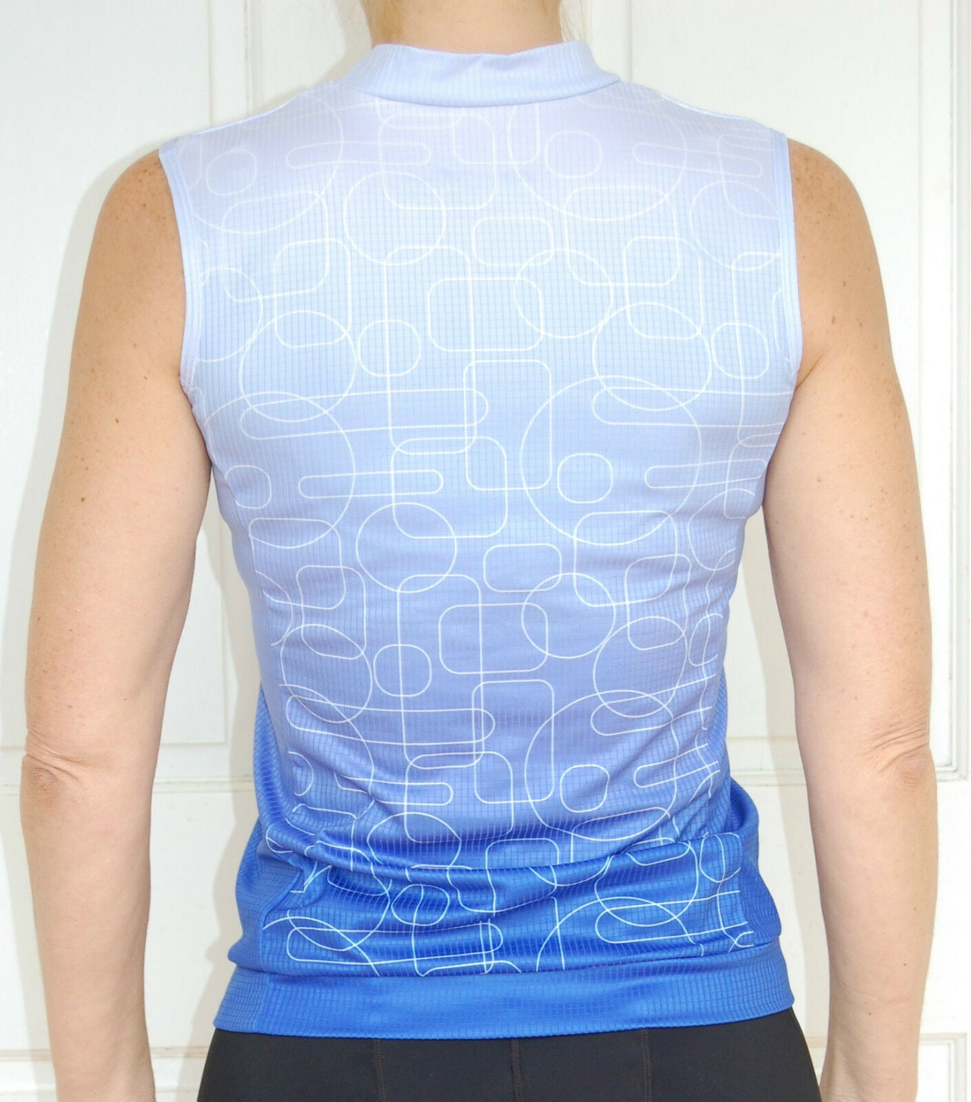 Sport, Cycling Bike, Clothing Jersey Top Sleeveless Ladies Women (Blue/White)