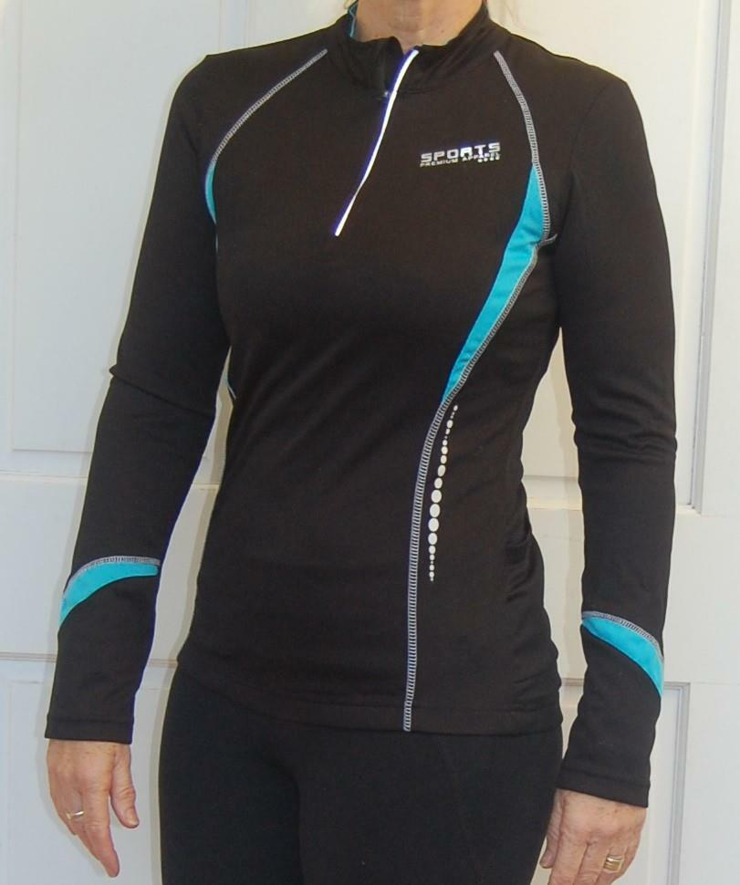 Sport, Cycling Bike, Clothing Jersey Top  Long Sleeve Ladies Women (Black & Blue)