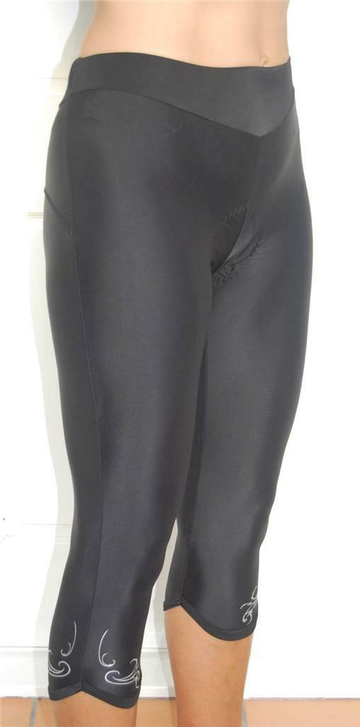 Cycling Sport Clothing Pants Ladies Women (Black with white/silver detail)