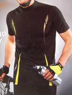 Unisex short sleeved cycling jersey (black/yellow)